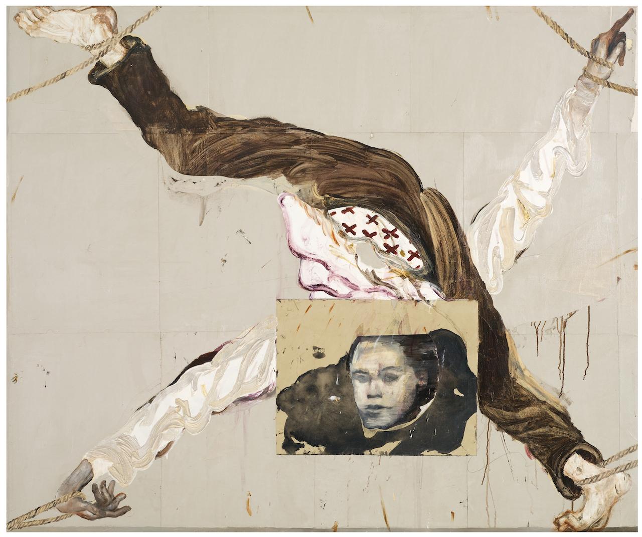 "Reima Nevalainen, ""Framed"" (2014), acrylic and collage on canvas, 65 by 79 in. (Rafaela and Kaj Forsblom Collection, Helsinki © Reima Nevalainen, courtesy RKF Collection, photo by Patrik Rastenberger)"