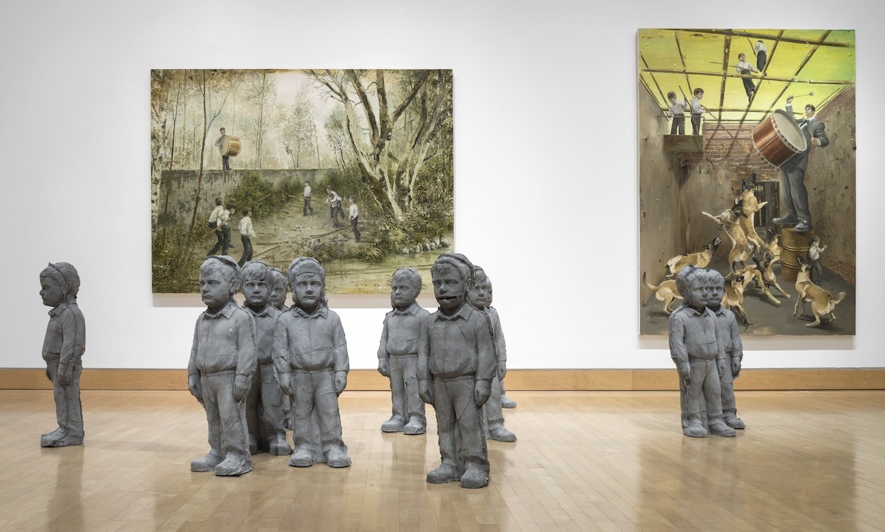 Installation view of works by Jarmo Mäkilä in 'Dark Days, Bright Nights: Contemporary Paintings from Finland' (photo E.G. Schempf, courtesy the Kemper Museum of Contemporary Art)
