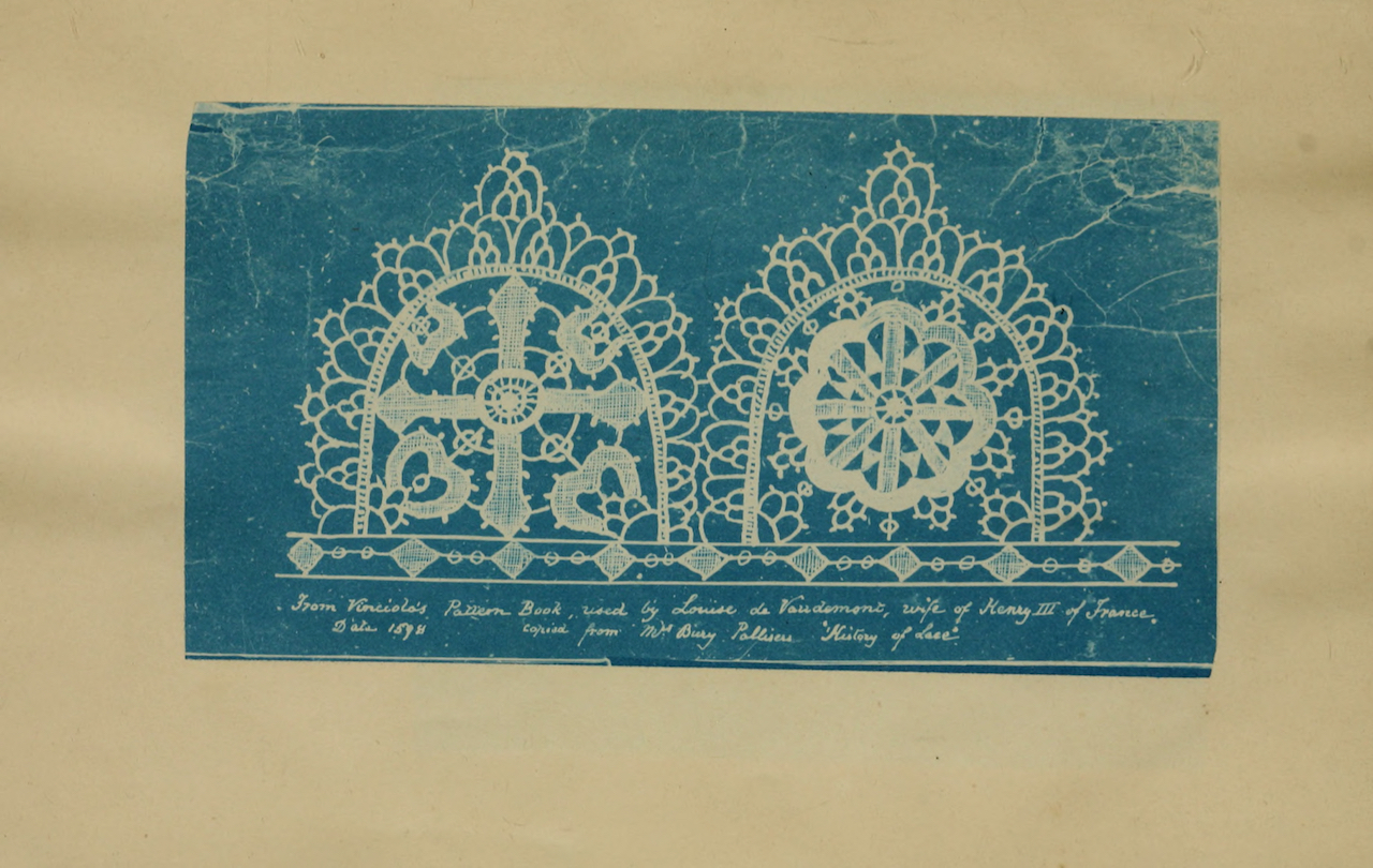 "From Julia Herschel's ""A Handbook of Greek Lace Making"" (1870), published by R. Barrett & Sons ("