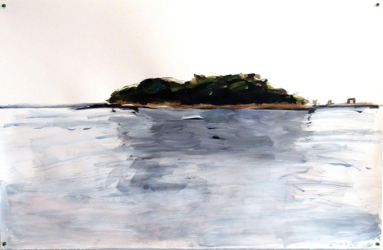 "Melinda Hunt, ""Blue Sea,"" ink sketch of Hart Island (courtesy the artist)"