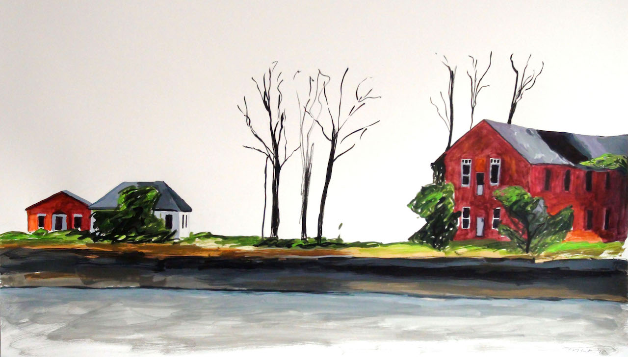 "Melinda Hunt, ""Buildings Among Burials,"" ink sketch of Hart Island (courtesy the artist)"