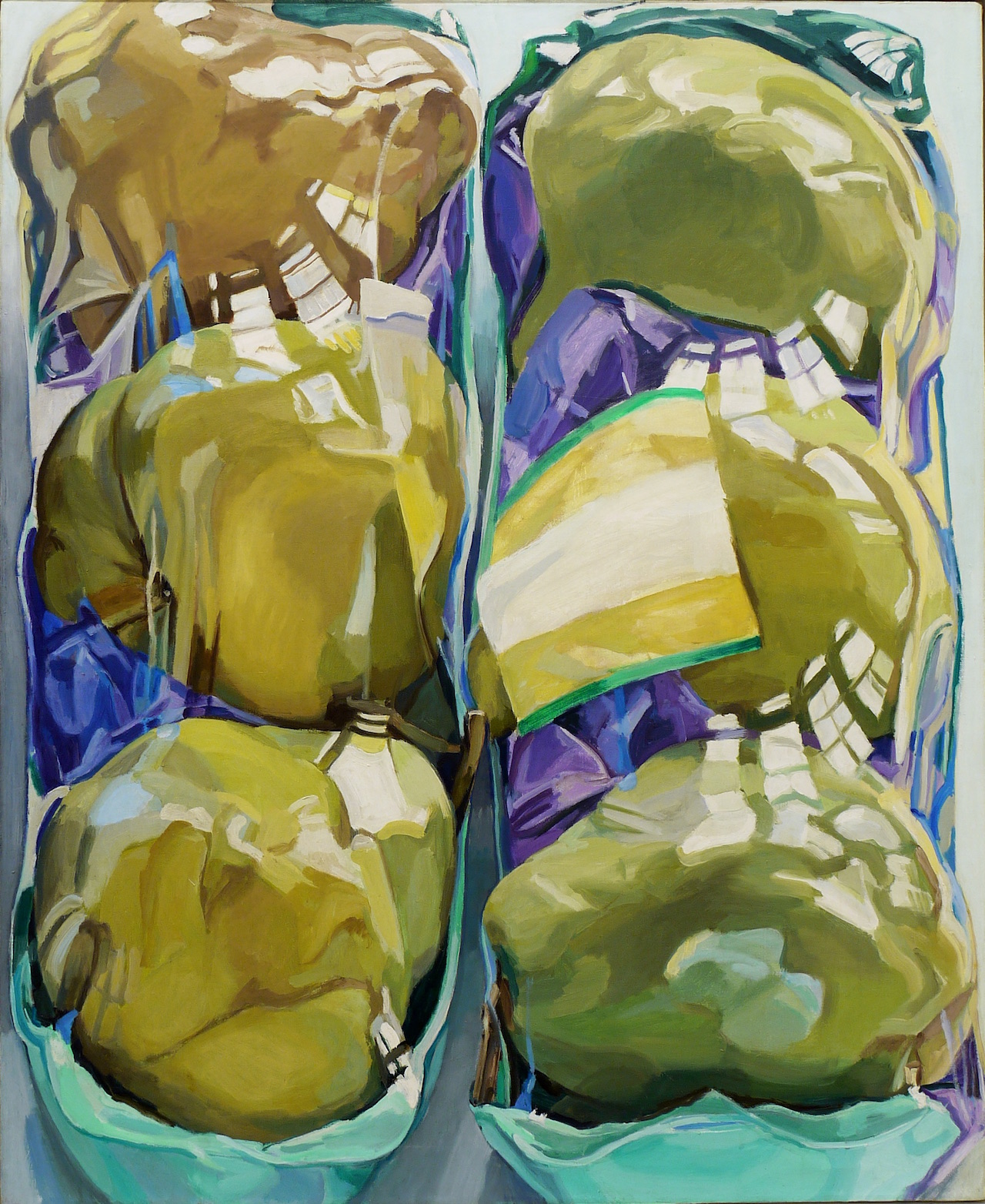 """Janet Fish, """"Untitled (Two Packages of Pears)"""" (1969), oil on canvas, 52 1/4 x 42 in"""
