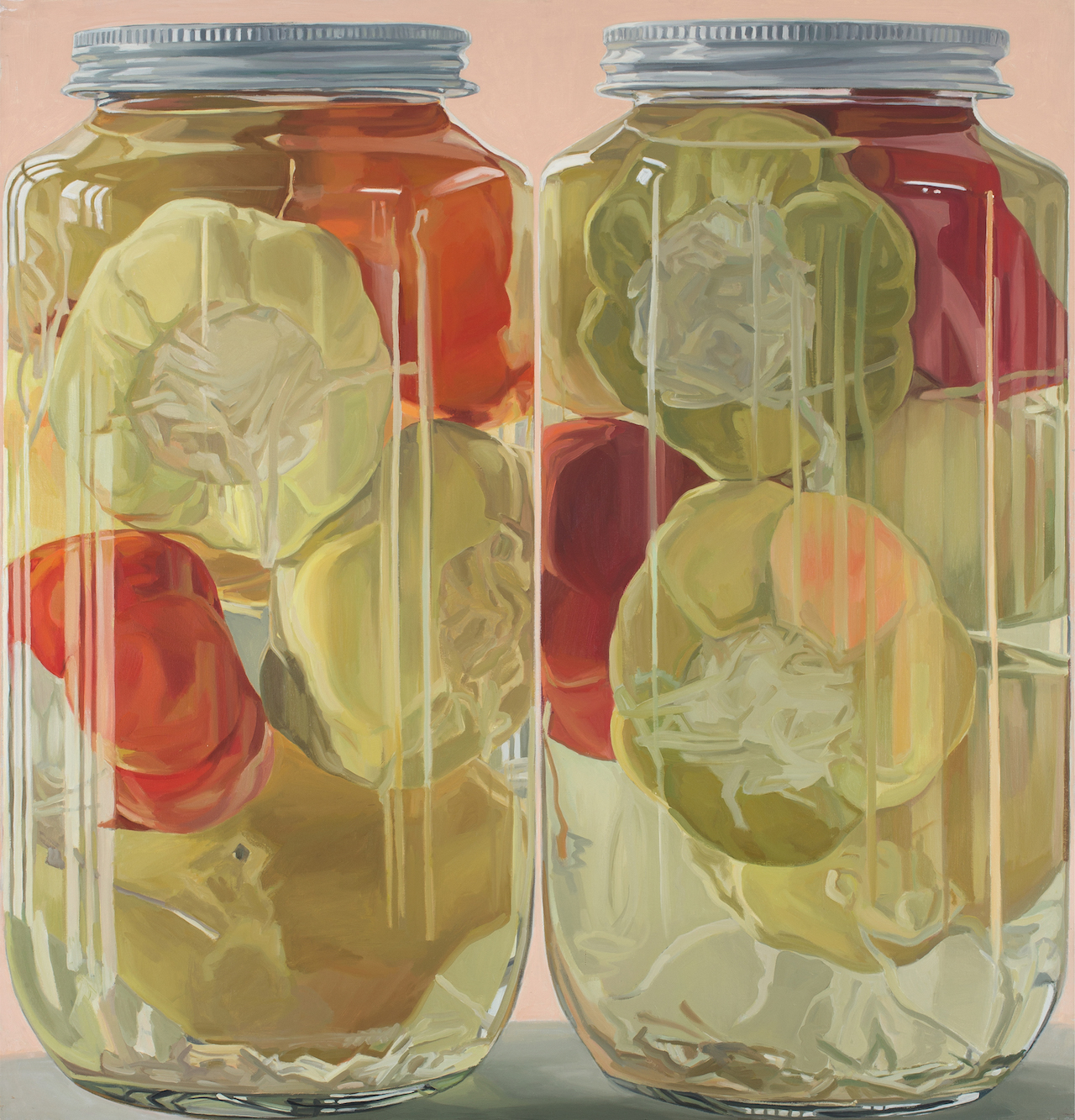 """Janet Fish, """"Stuffed Peppers"""" (1970), oil on canvas, 59 x 57 in"""