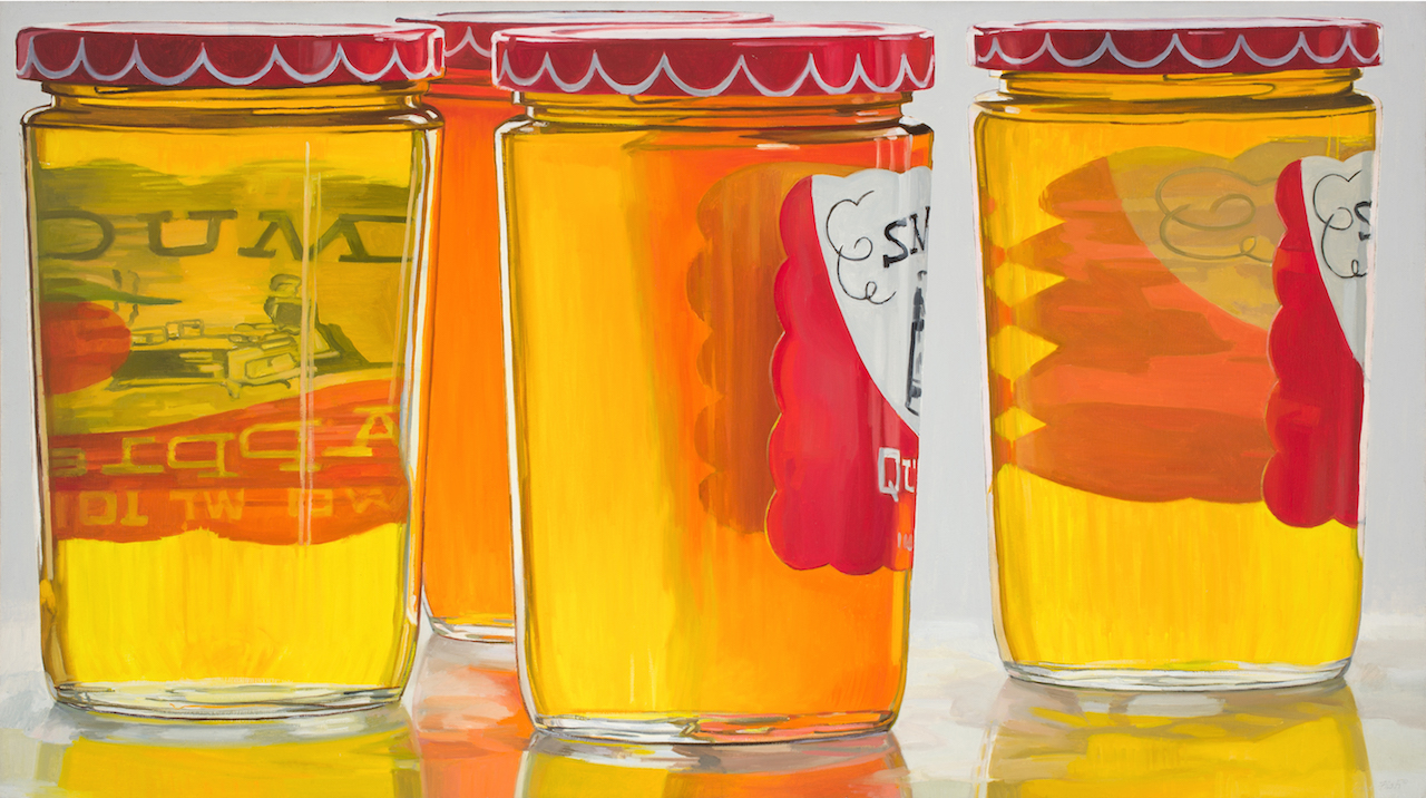 """Janet Fish, """"Smucker's Jelly"""" (1973), oil on canvas, 36 x 64 in (all images courtesy of DC Moore Gallery, New York )"""