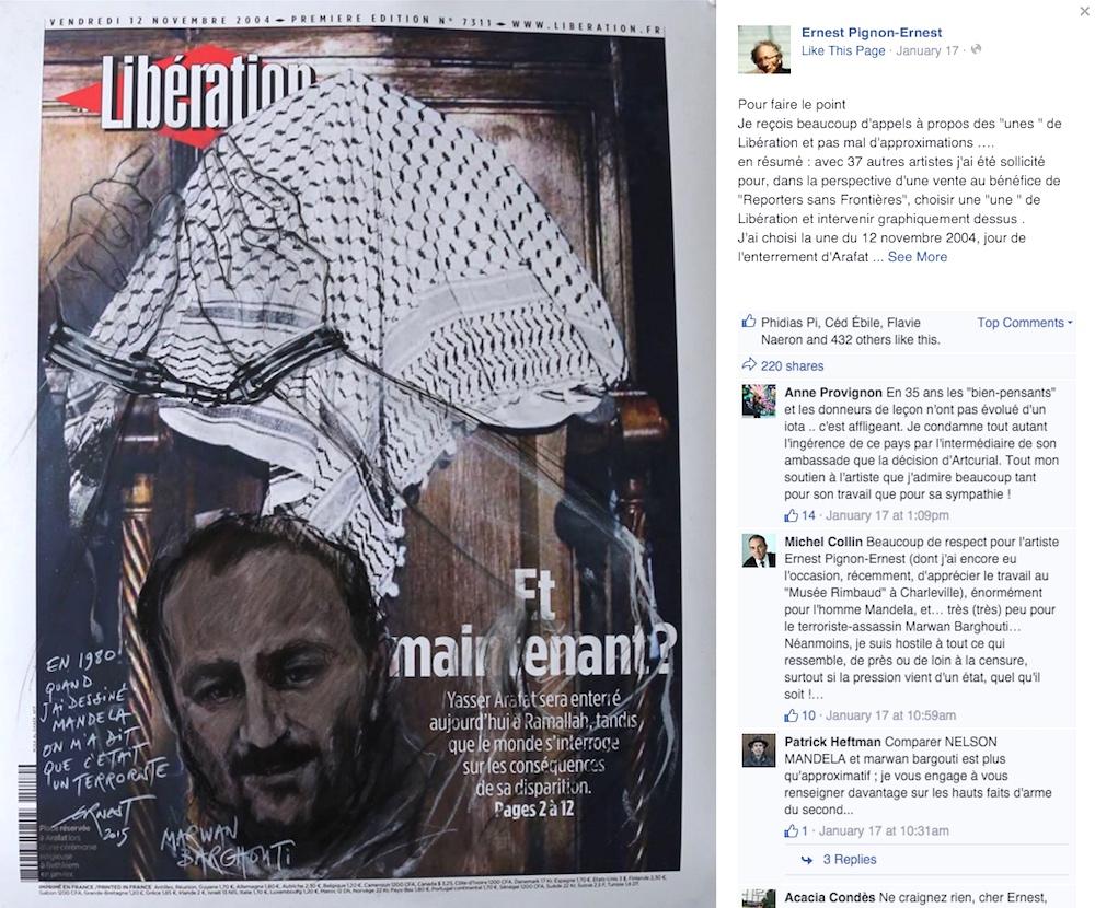 Ernest Pignon-Ernest's contribution to the 'Artistes à la une' benefit auction for Reporters Without Borders (screenshot by the author via Facebook)
