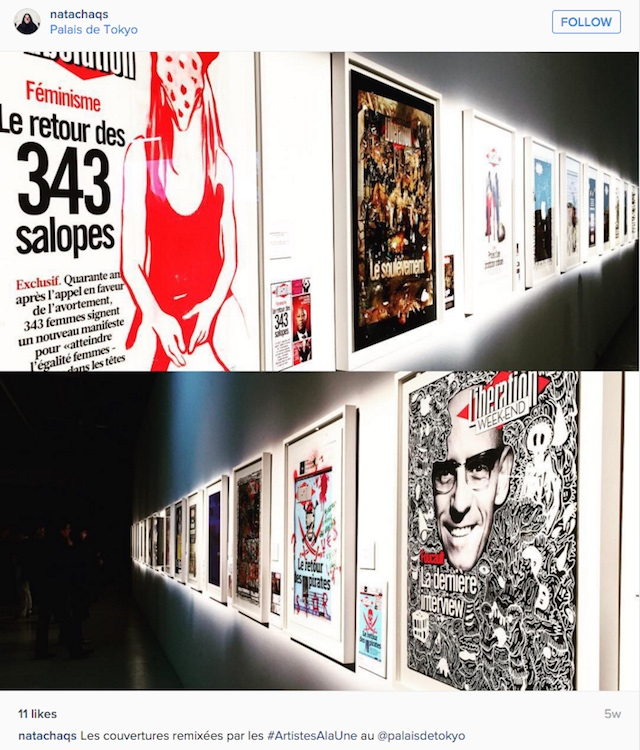 Works from 'Artistes à la une' on view at the Palais de Tokyo (photo by @natachaqs/Instagram)