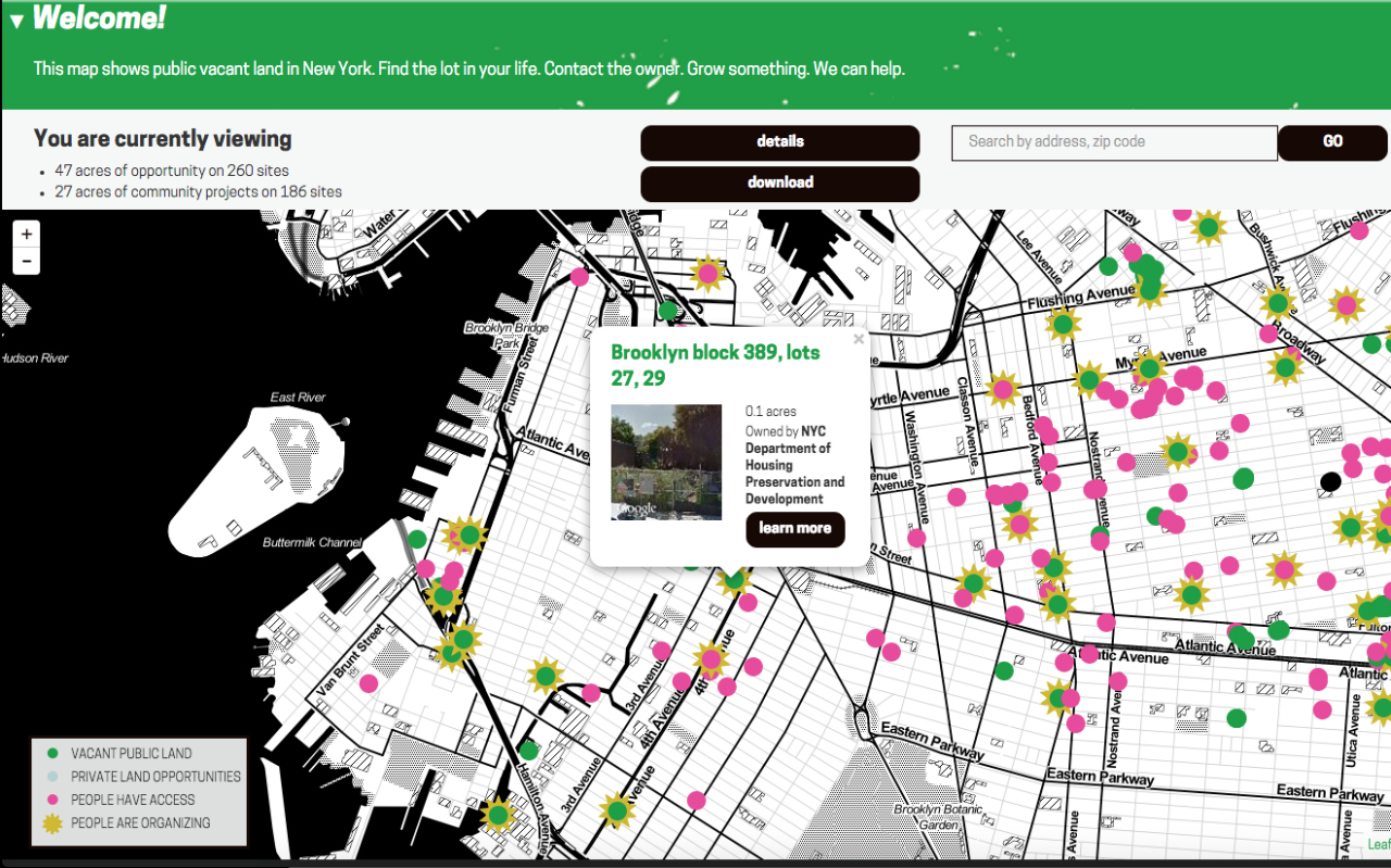Interacting with the Living Lots NYC map (screenshot by the author for Hyperallergic)