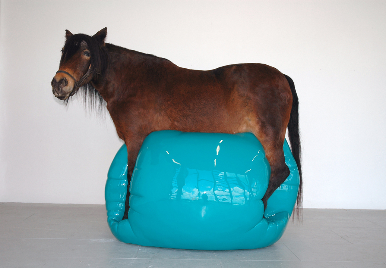 "Soheila Sokhanvari, ""Moje Sabz"" (2011), taxidermy, fiberglass, Jesmonite blob, automobile paint, 170 x 230 x 140 cm"