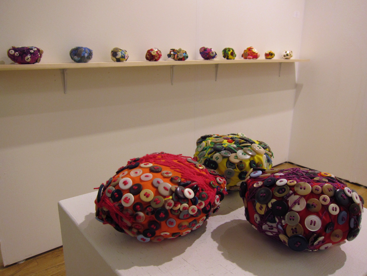 Fabric and button sculptures by Momoka Imura at Yukiko Koide Presents