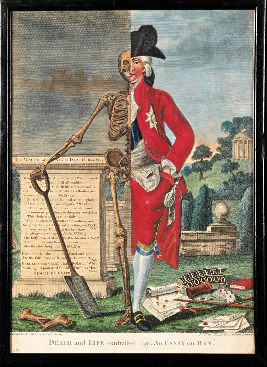 One of a pair of English hand-colored woodcut engravings, from Valentine Green's 'Death and Life Contrasted — or, An Essay On Man; An Essay On Woman' (1770, London), printed by Bowles and Carver, published by the artist.