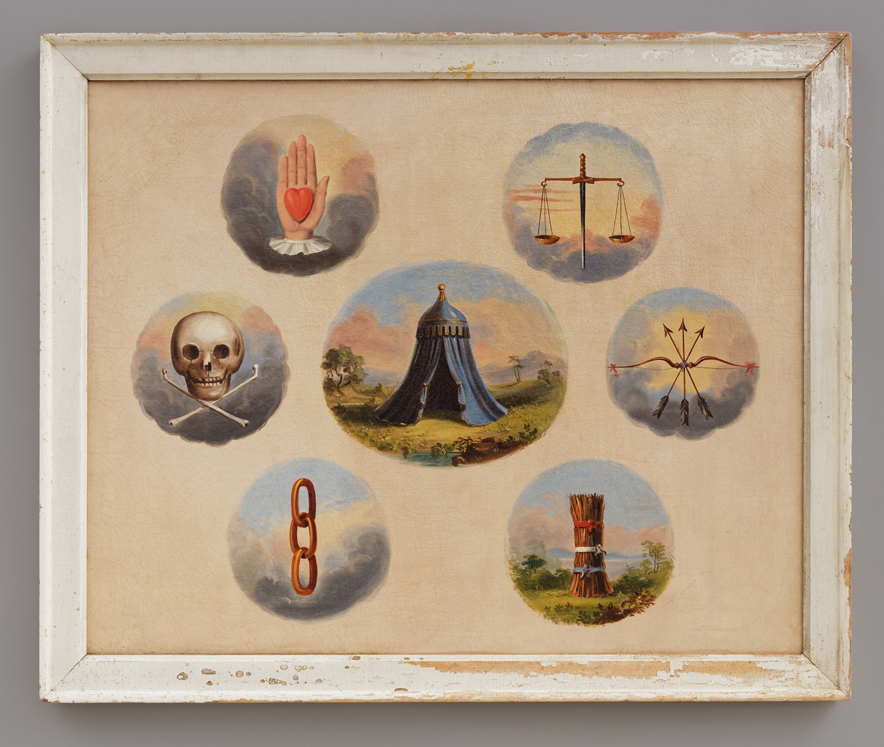Independent Order of Odd Fellows Tracing Board, Artist unidentified (United States, 1850–1900), oil on canvas, 33 1/4 x 39 1/2 x 2 1/8 inches (courtesy American Folk Art Museum, photo by José Andrés Ramírez)