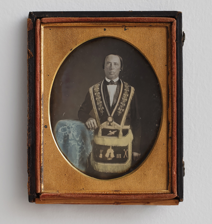Unidentified Man in Independent Order of Odd Fellows Regalia, Artist unidentified (United States, 1840–1860), quarter-plate daguerreotype, 4 3/4 x 3 3/4 inches (courtesy American Folk Art Museum)