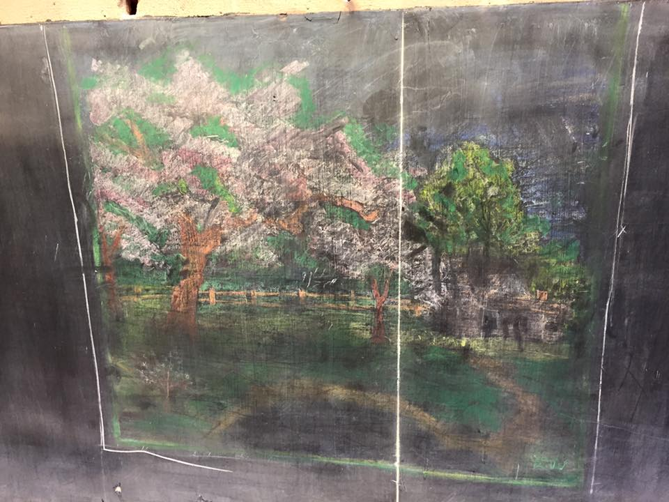 Drawing of trees and a fence on the chalkboards (courtesy Oklahoma City Public Schools)