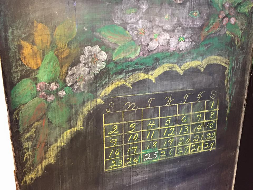 Calendar and flowers in the recently discovery 1917 chalkboard drawings in Oklahoma City (courtesy Oklahoma City Public Schools)