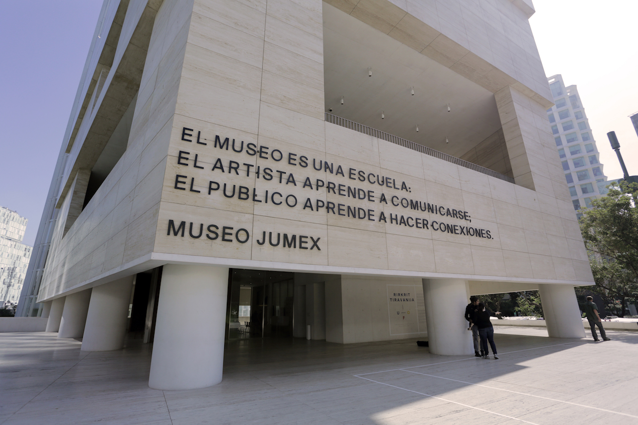 """Luis Camnitzer, """"A Museum is a School"""" (2011–present), site-specific installation at Museo Jumex, Mexico City (Solomon R. Guggenheim Museum, New York, gift of the artist in honor of Simón Rodriguez on the occasion of the Guggenheim UBS MAP Global Art Initiative; photo by Nisma Zaman, 2015 © Solomon R. Guggenheim Foundation)"""