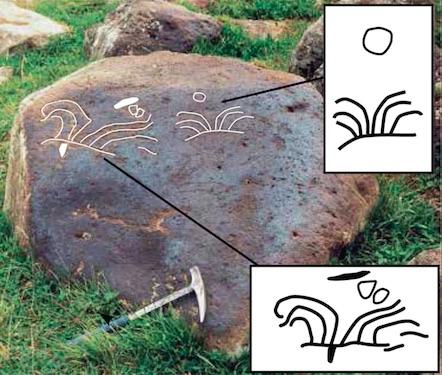 Petroglyphs depicting the Porak volcano eruption in the Syunik region of Armenia (click to enlarge)