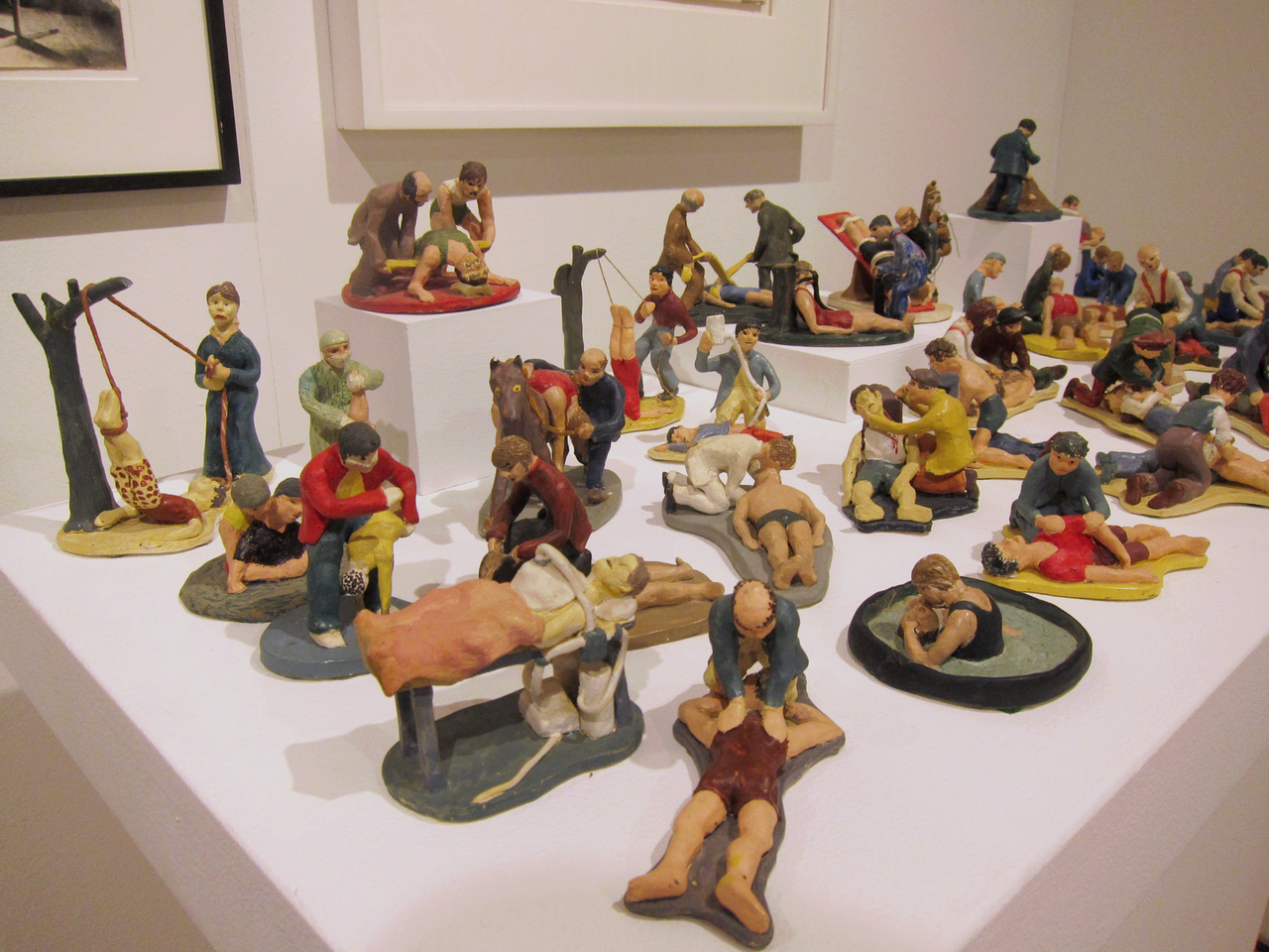 Painted clay sculptures by Susan Gerard at Fred Giampietro Gallery