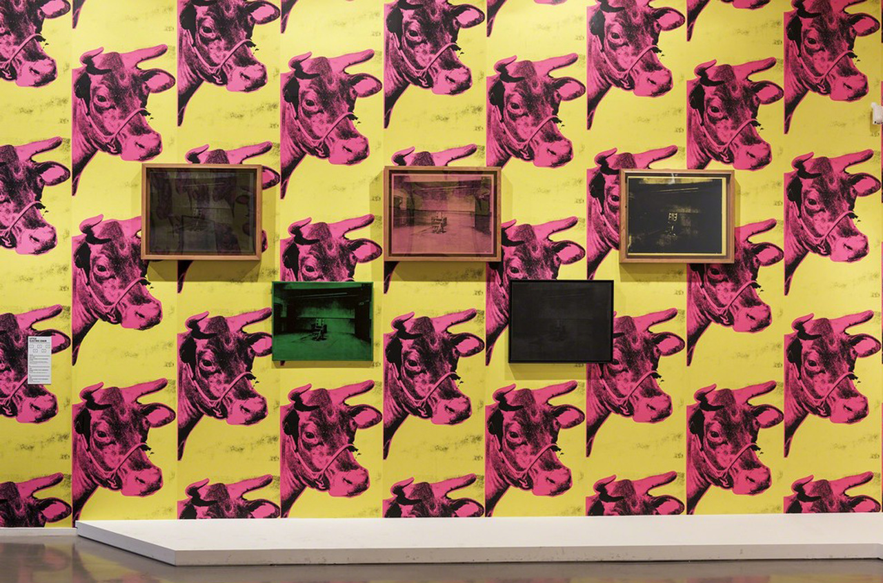 Installation view of 'Warhol Unlimited' with selections from Andy Warhol's 'Electric Chairs' series (1964–71) (photo by Pierre Antoine, courtesy the Musée d'art moderne de la Ville de Paris