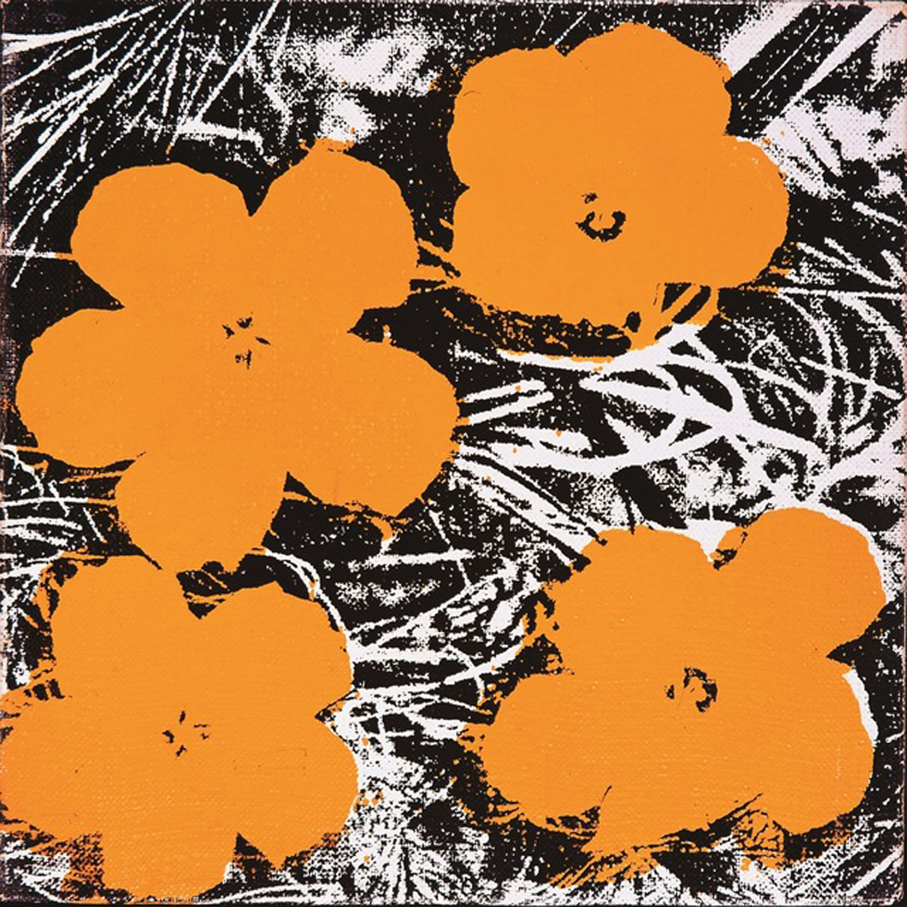 """Andy Warhol, """"Flowers"""" (1965), acrylic paint and silkscreen ink on canvas, 8 by 8 in. (© The Andy Warhol Foundation for the Visual Arts, Inc. / ADAGP, Paris 2015)"""