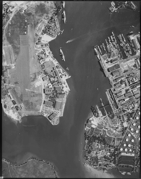 Aerial photograph of Pearl Harbor, Hawaii (1/17/1941) (via Records of the Defense Intelligence Agency/National Archives)