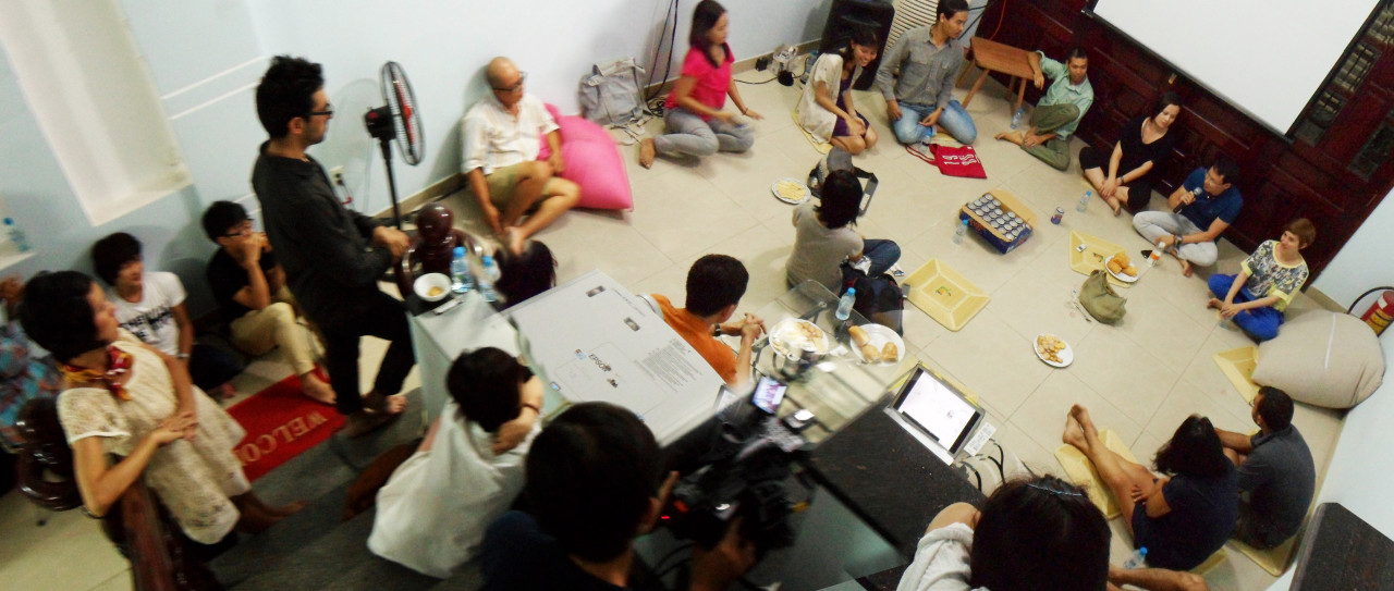 """San Art Laboratory Intensive, Day Two: """"Why is it important to understand the relationship between an idea and its technical realization?"""" with artists Jun Nguyen-Hatsushiba, Tiffany Chung, and Nguyễn Mạnh Hùng, 2012."""