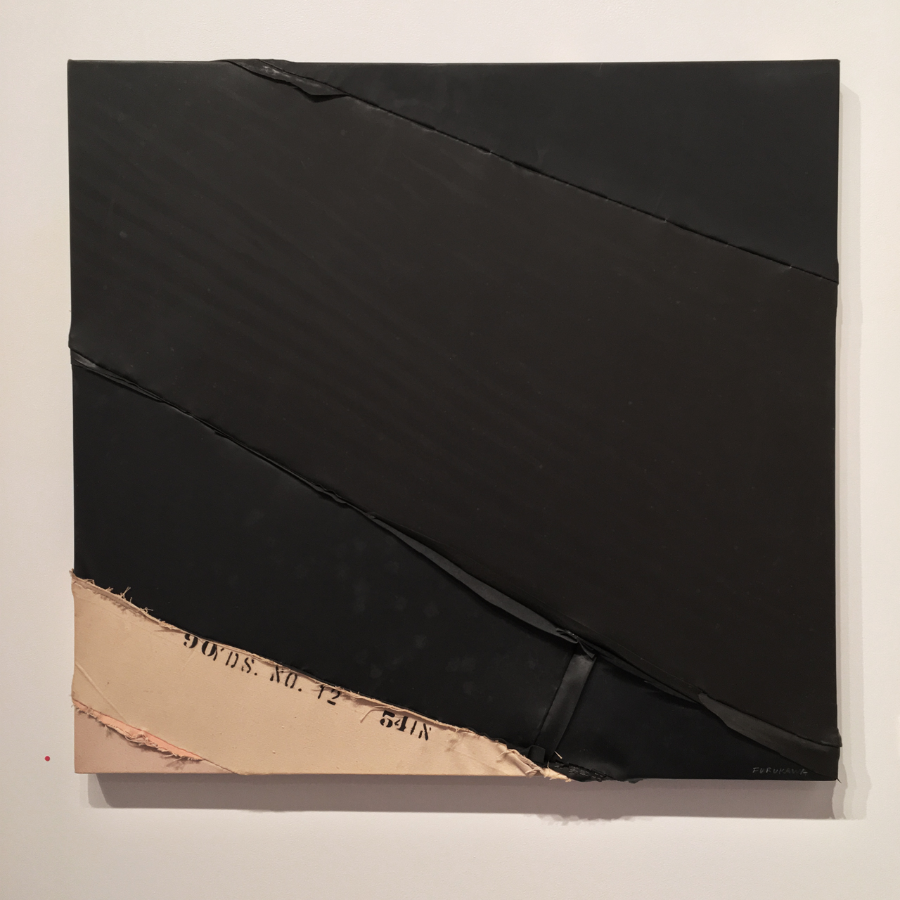 """""""C-6"""" (1976), Canvas, rubber, and thread of canvas, 35 x 35.25 in. (Image courtesy the author for Hyperallergic)"""