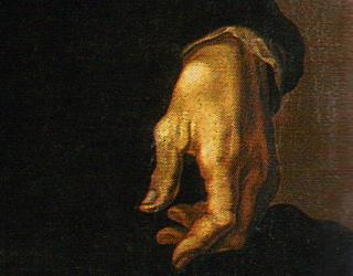 "Detail of Michelangelo's left hand in Jacopino del Conte, ""Michelangelo Buonarroti"" (ca. 1535)"