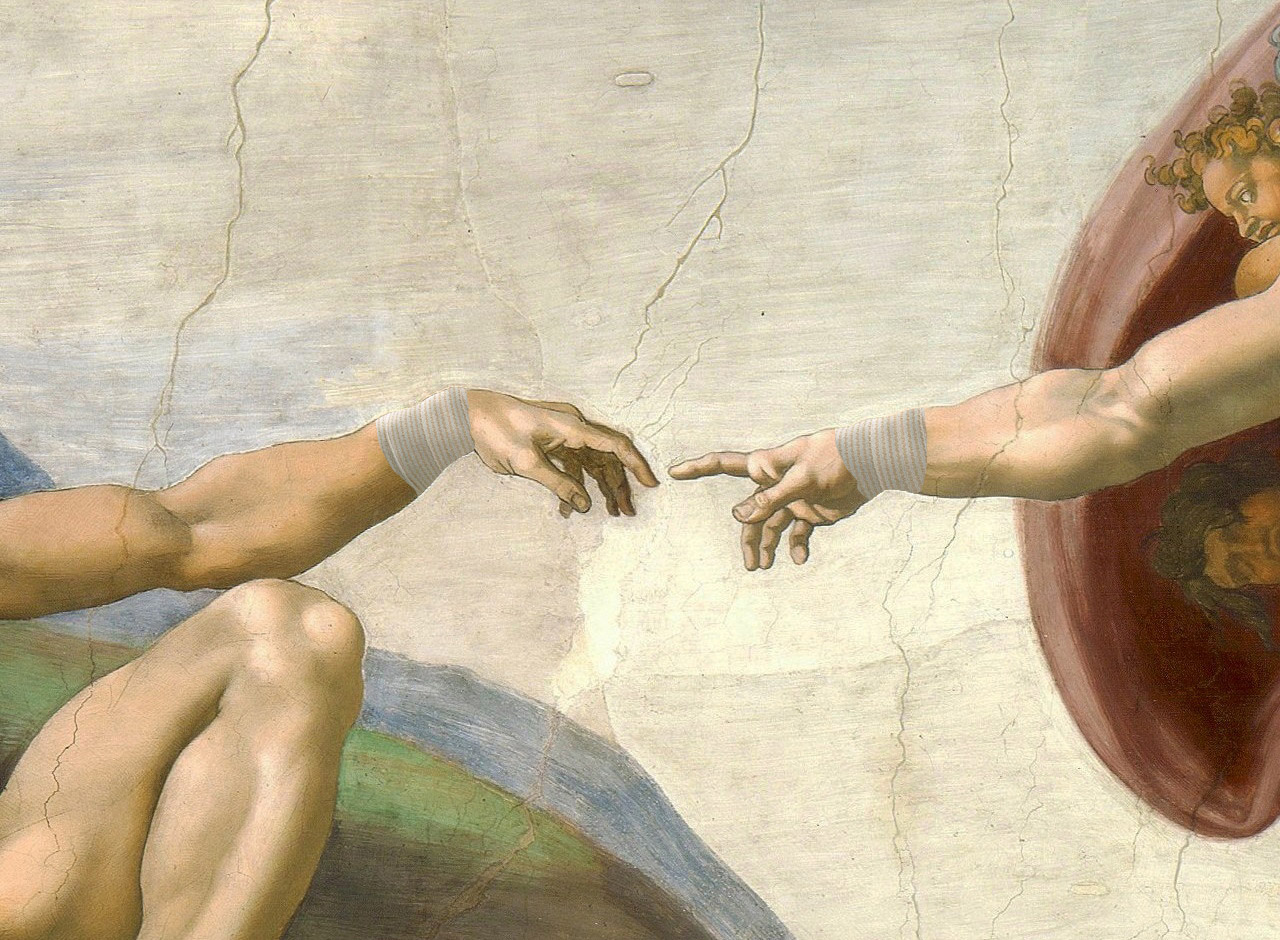 """Rendering of Michelangelo's """"The Creation of Adam,"""" if Adam and god had suffered from aching wrist joints (illustration by the author for Hyperallergic)"""