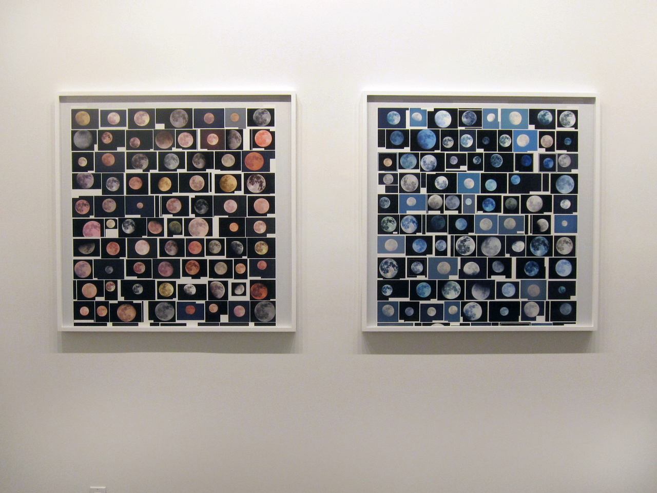 "Penelope Umbrico, ""Screenshot 2015-11-07 18.34.11 / Pink Filter"" (2015) (left) and ""Screenshot 2015-11-24 18.14.32 / Blue Filter"" (2015) (right)"