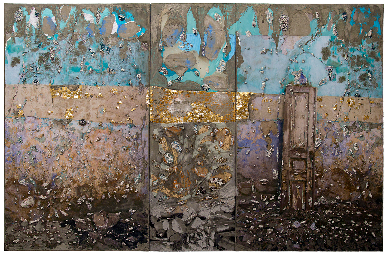 """Naomi Safran-Hon, """"Wadi Salib: Glitter and Doom in Gold"""" (2014), archival ink jet print, lace, pigment, acrylic, oil pastels, and cement on canvas and fabric, 110 x 72 in (all images courtesy the artist)"""