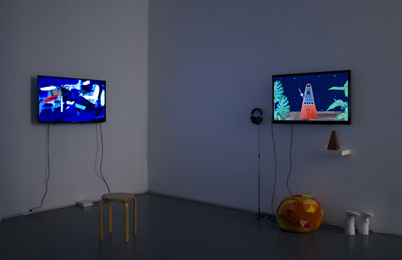 """Leah Beeferman, """"Supersolid 1"""" (2014) and Erica Magrey, """"Tag Sale Cosmology"""" (2016). Image courtesy Klaus Von Nichtssagend Gallery."""