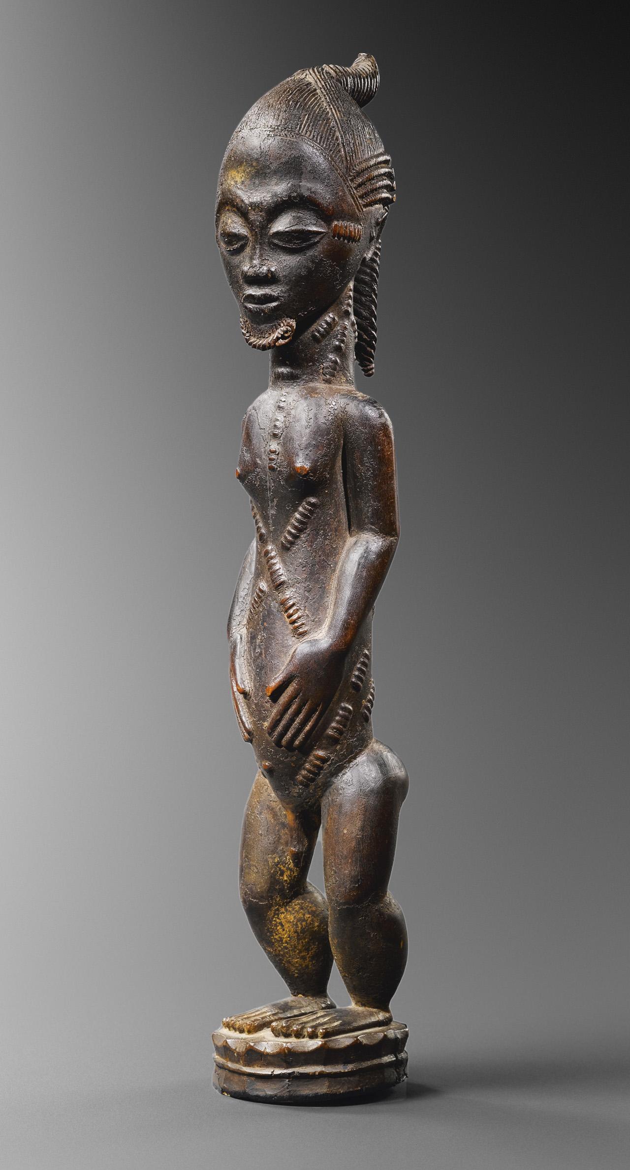 """Baoulé (Ivory Coast) """"Statuette de conjoint mystique blolo bian"""" (circa 19th century) (© rights reserved Musée Dapper, Paris)"""