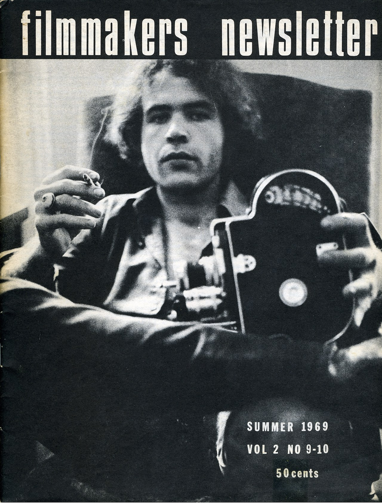 Andrew Noren on the cover of 'Filmmakers Newsletter,' summer 1969, Vol. 2, No. 9–10 (photo by and courtesy Alexis Alexandris)