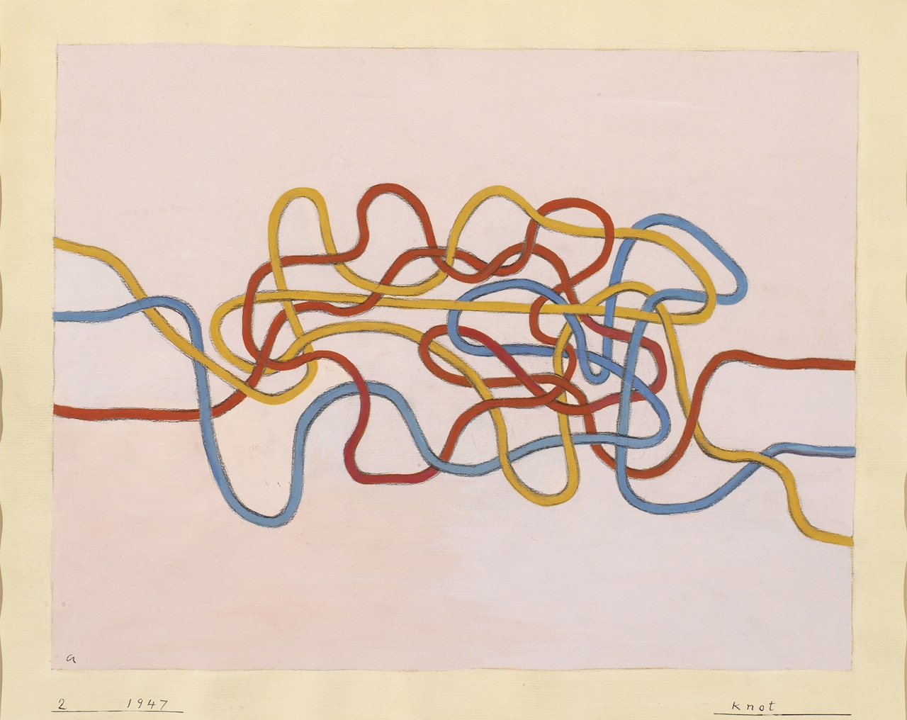 """Anni Albers, """"Knot 2"""" 1947. Gouache on paper, 17 x 21 1/8 inches. © The Josef and Anni Albers Foundation/ Artists Rights Society New York. Photo by Tim Nighswander/ Imaging 4 Art."""