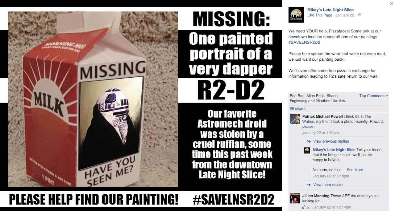 A plea for the return of the stolen R2-D2 painting (screenshot via Facebook)