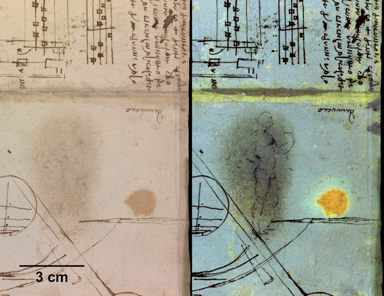 Folio from a Leonardo da Vinci notebook, with the naked eye view at left, and the multispectral imaging view at right (courtesy British Library)