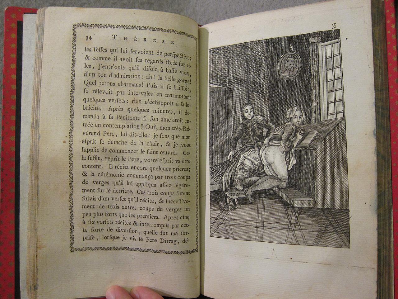 """Illustration from """"Thérese philosophe, ou, Mémoires pour servir à l'histoire du P. Dirrag, & de Mademoiselle Eradice"""" (1748?)"""