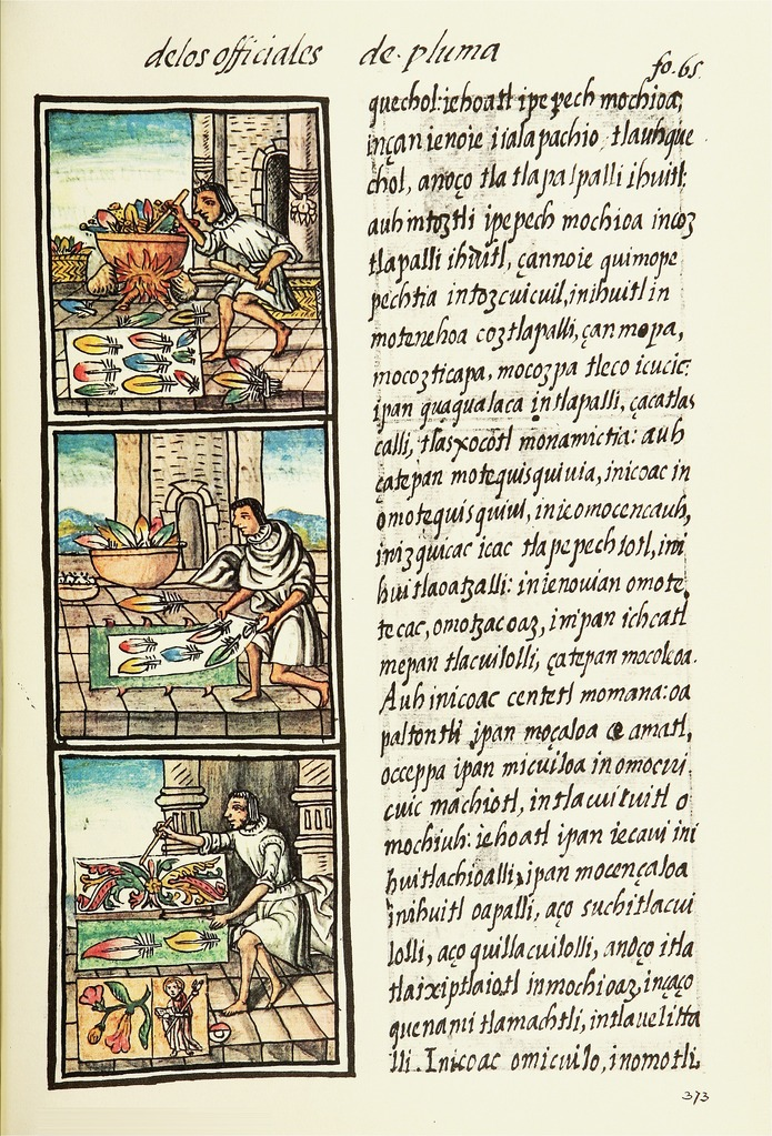 Aztec feather painter in the Florentine Codex (16th century) (via Wikimedia)