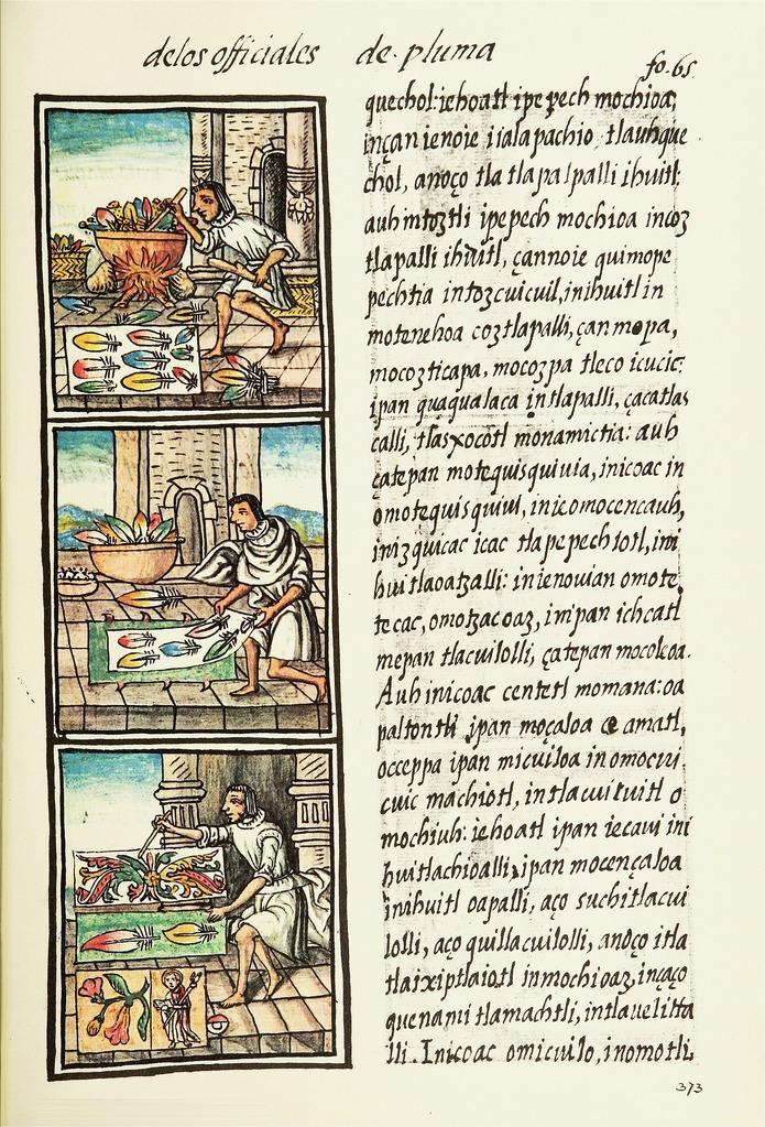 Aztec feather painter in the Florentine Codex (16th century) (via Wikimedia)
