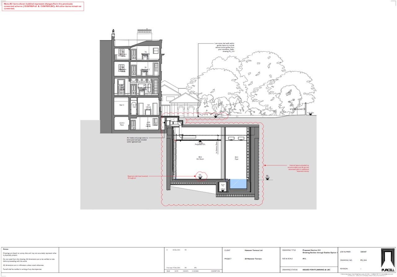 Plans for the expansion of Damien Hirst's mansion at 20 Hanover Place (by Purcell, via westminster.gov.uk)