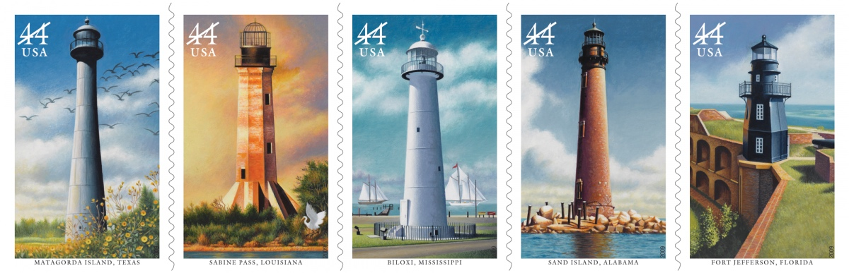 Howard Koslow's series of Gulf Coast Lighthouse stamps, first issued by the US Postal Service in 2009 (via uspsstamps.com)