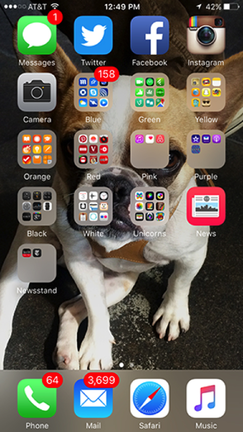 My iPhone's apps, organized by color