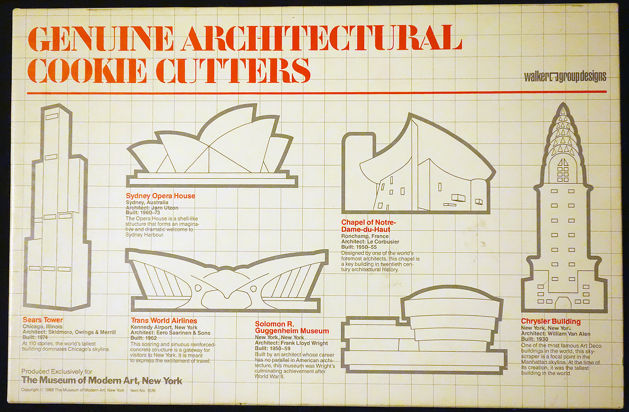 Take a bite out of modernism with moma 39 s 1988 architecture for Cookie cutter house plans