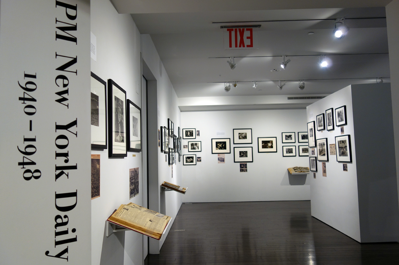 Installation view of 'PM New York Daily: 1940-48' (photo by the author for Hyperallergic)