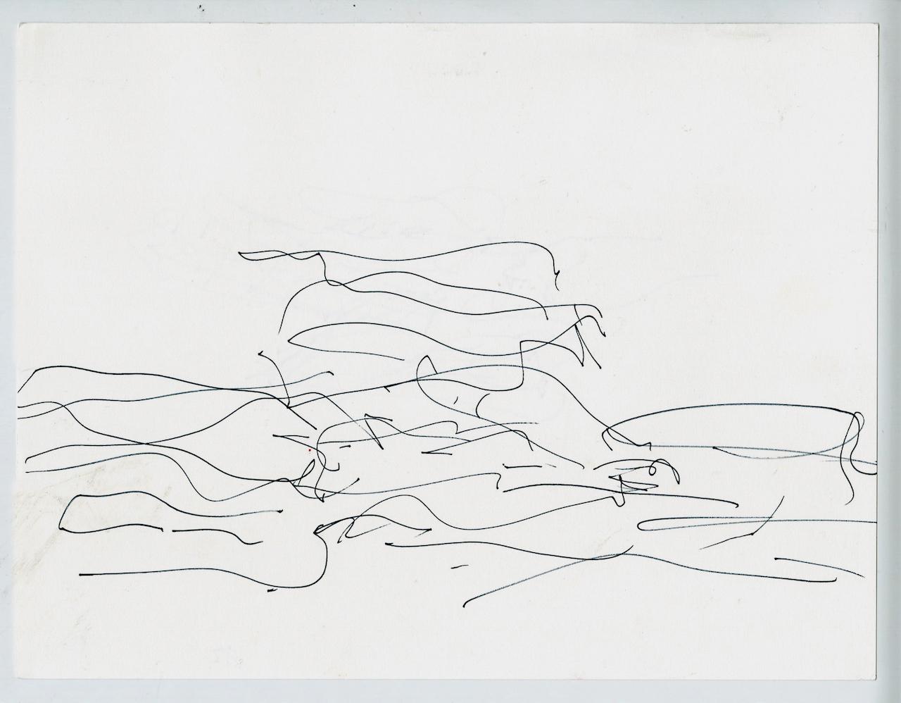 Frank Gehry, design sketch and volume study of Quanzhou Museum of Contemporary Art (2012)