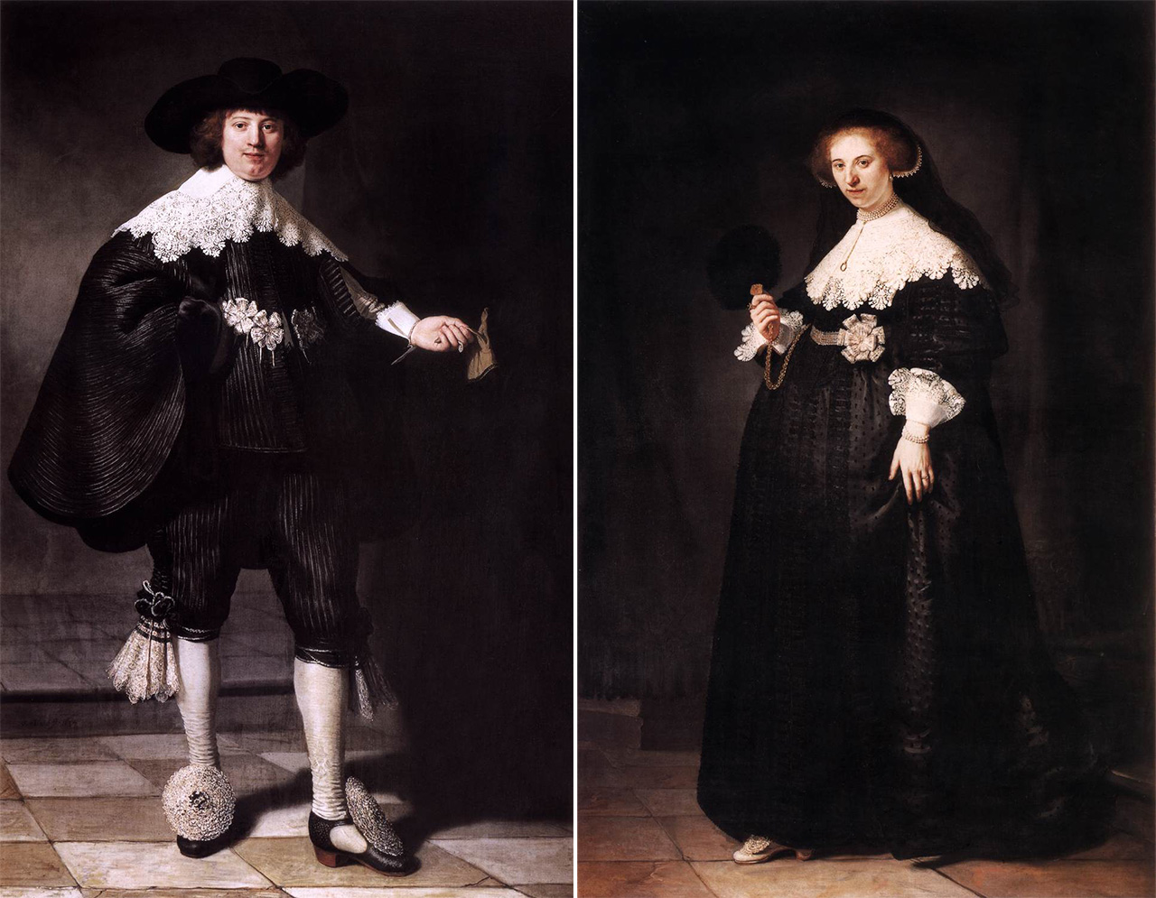 """Rembrandt's """"Portrait of Marten Soolmans"""" and """"Portrait of Oopjen Coppit"""" were jointly acquired by the Louvre and Rijksmuseum. (images via Wikimedia Commons and Wikimedia Commons)"""