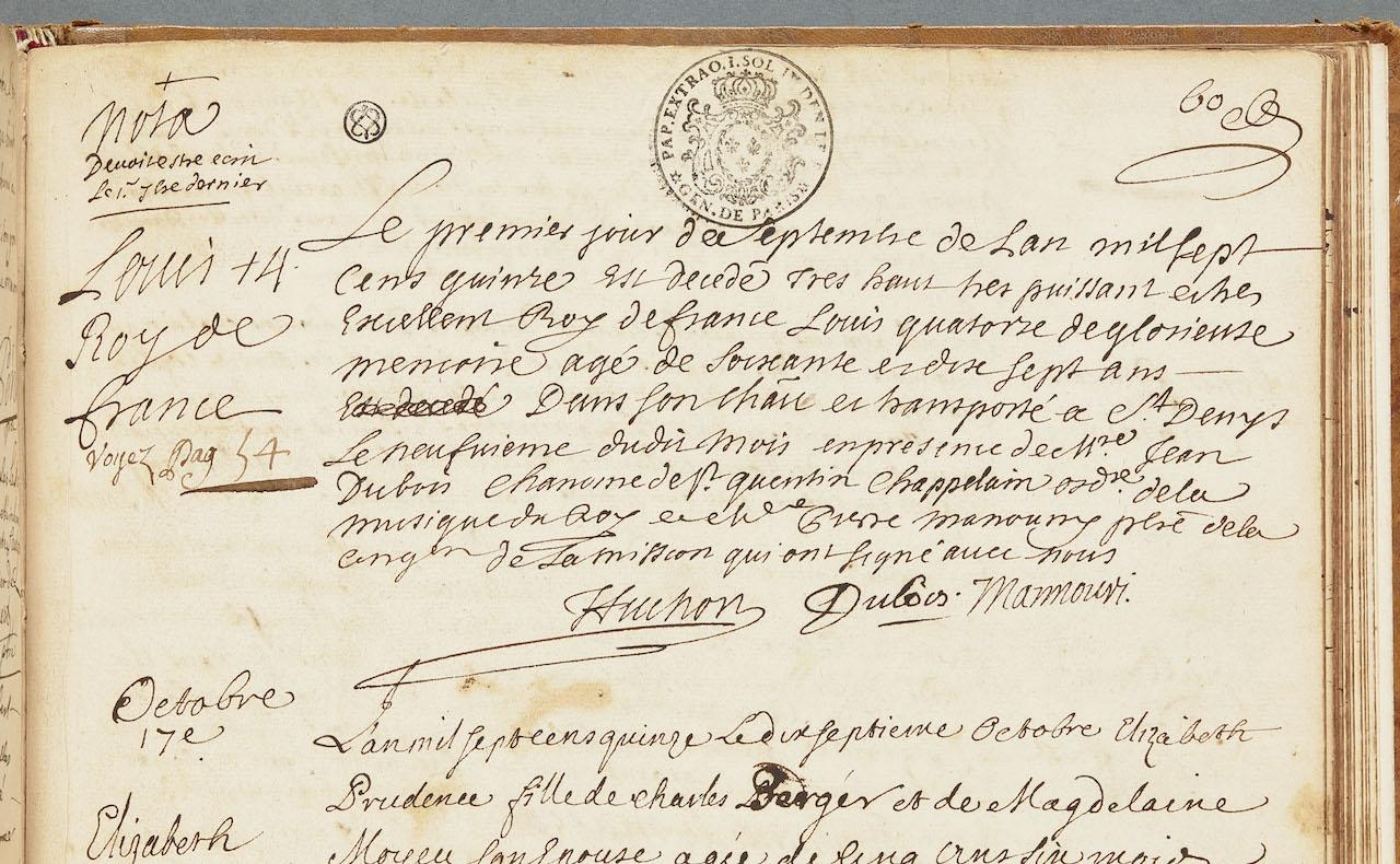 Louis XIV's death certificate (1715) (Registre des sépultures de la paroisse Notre-Dame de Versailles Versailles, archives communales de Versailles © DR)