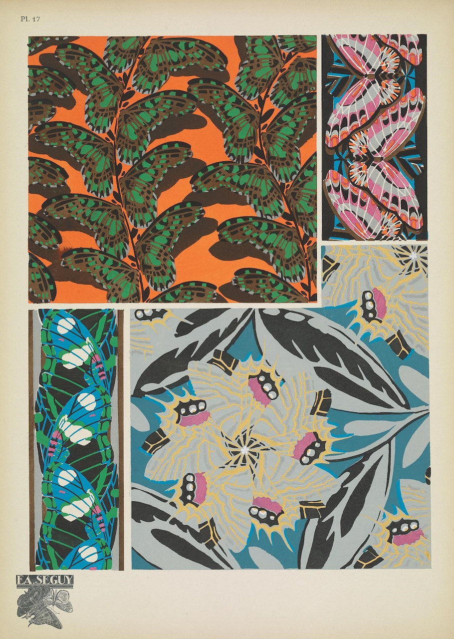 Art Deco Patterns Of Beetles And Butterflies