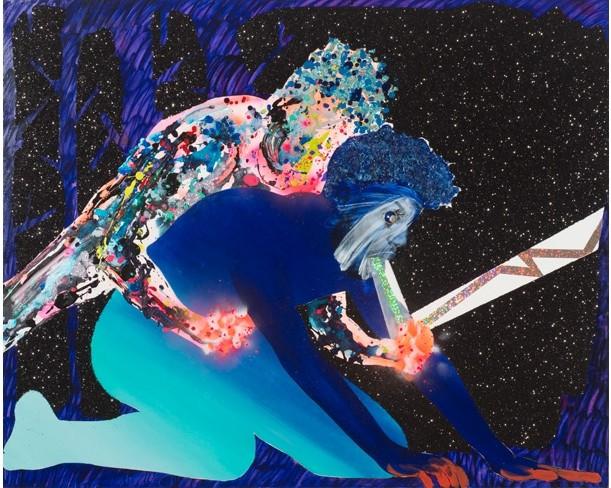 "Devan Shimoyama, ""Let Me Help"" (2015), Oil, enamel, spray paint, graphite, acrylic, glitter, beads on canvas, 52 x 42 x 2.25in. (via samuelfreeman.com)"