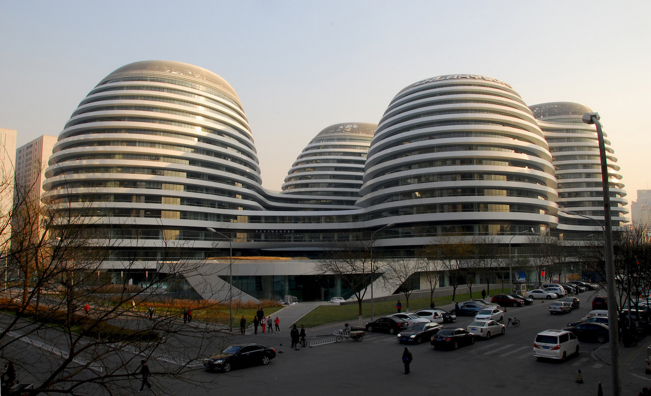 Zaha Hadid's Galaxy SOHO in Beijing (photo by Rob Deutscher via Flickr, used under CC BY 2.0 license)